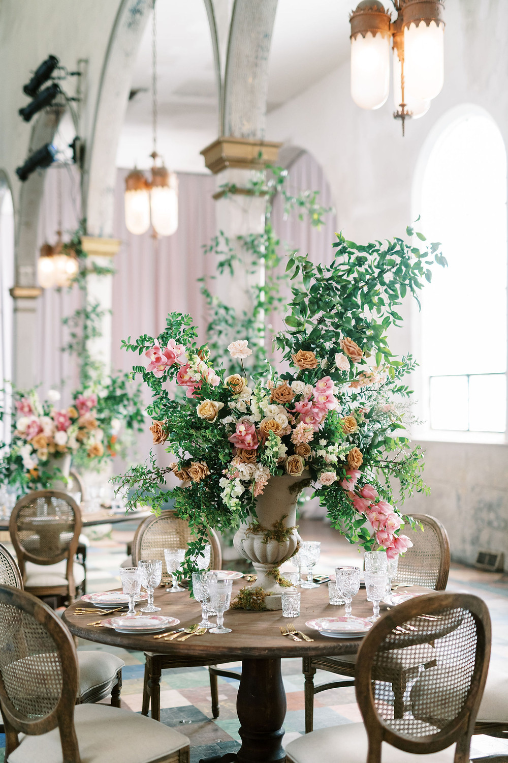 Leaf + Petal, New Orleans, Marigny Opera House, smilax columns, greenery wedding, English garden flowers, garden urns, reception, Bridgerton wedding