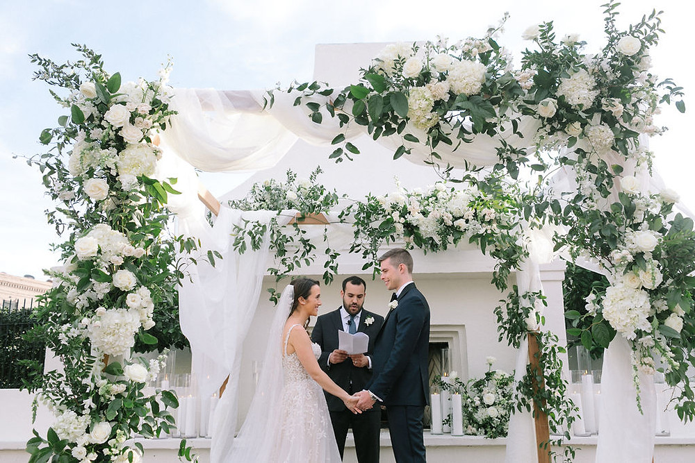 ceremony chuppah with drapery at Il Mercato