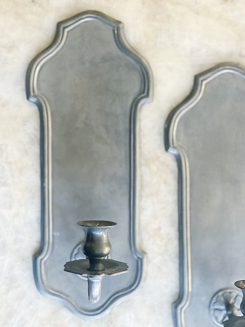 Pair of Pewter Sconces