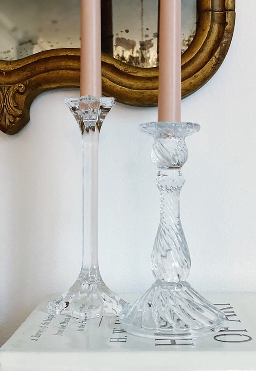 Glass Candle Stick Pair