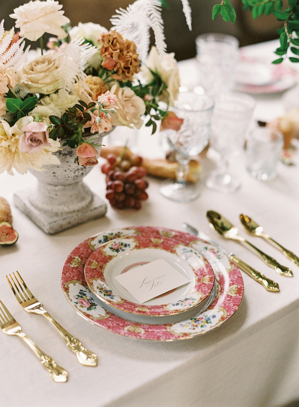 Leaf + petal, New Orleans, seated dinner, Bridgerton wedding, toffee roses, china place setting
