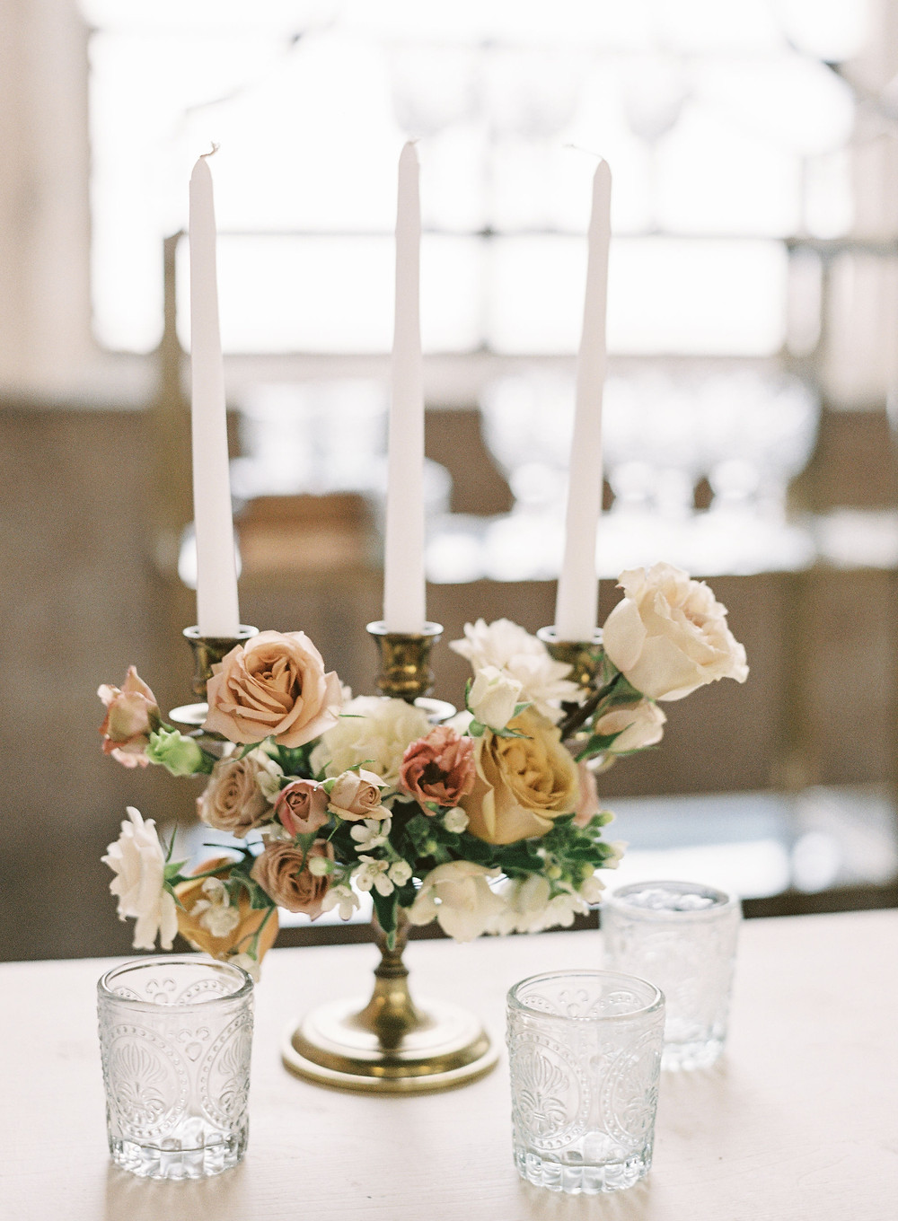 leaf + petal, New Orleans, Marigny opera house, Bridgerton wedding, house of modern vintage Nola, brass candelabra