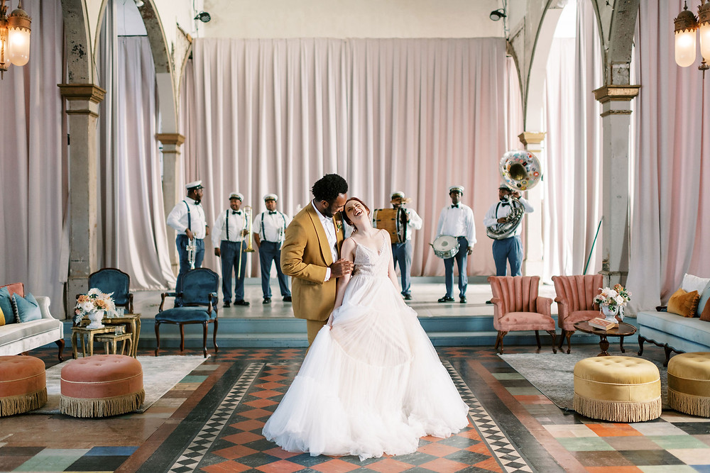 leaf + petal, New Orleans, Marigny opera house, second line, kinfolk band, Bridgerton wedding,