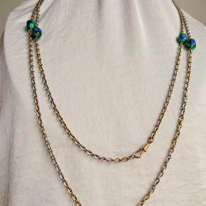 Peacock eye-glas , pärlor från det tidiga 1900-talet