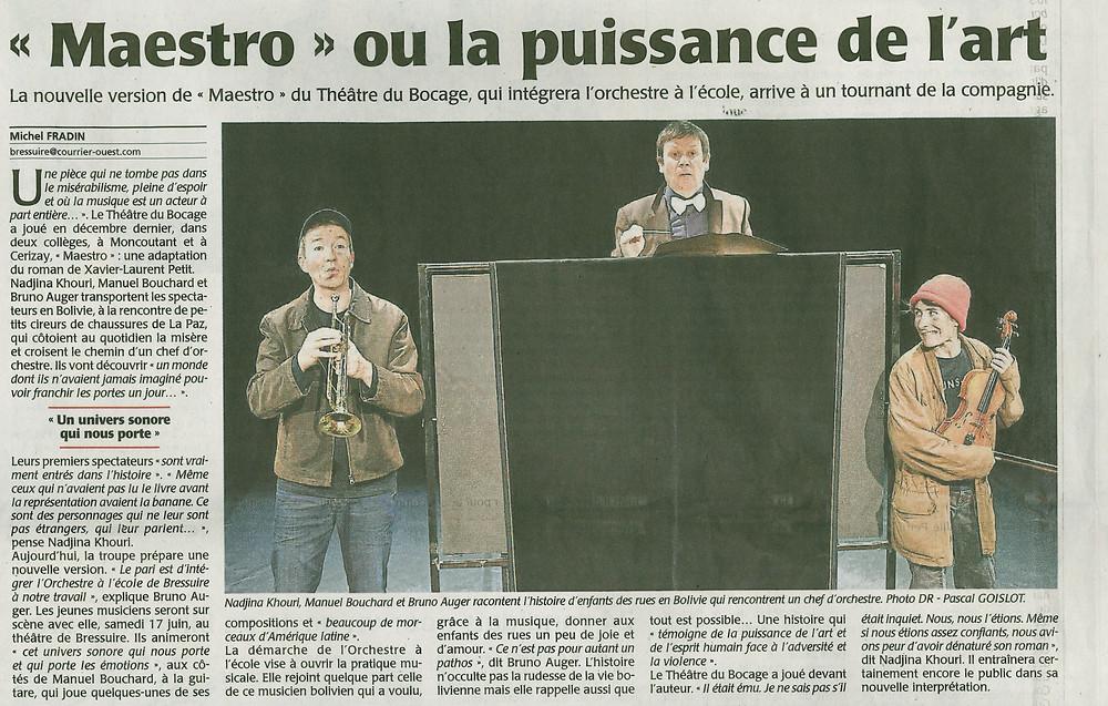 """Le courrier de l'ouest du 30 janvier 2017  offre une pleine page en rubrique """"Bressuire"""" à la création du théâtre du bocage"""
