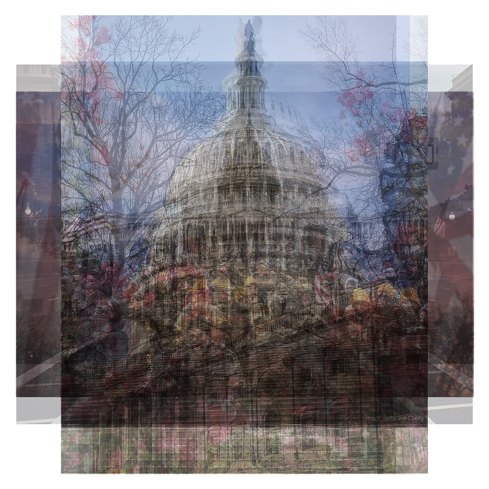 Instagram photos that were all uploaded on Inauguration Day 2021 were overlaid in an x-ray stack to create this work of art