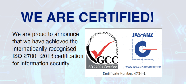 We've Achieved ISO 27001:2013 Certification!