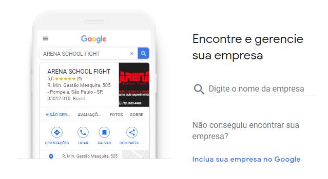 Tela inicial de cadastro do Google Meu Negócio