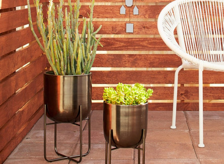 Sebasco 2-piece Round Indoor/Outdoor Metallic Gold Metal Planters Set by Havenside Home