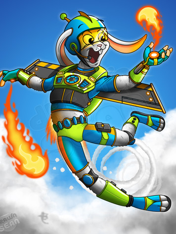 Rocket Rabbit Character Illustration