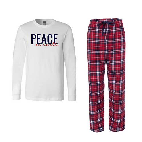 Navy & Red Plaid Peace