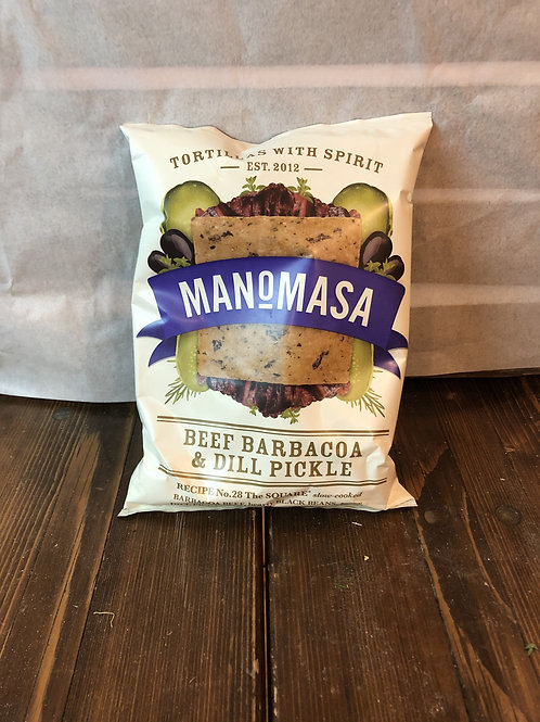 MANOMASA TORTILLA CHIPS (Beef Barbacoa & Dill Pickle)