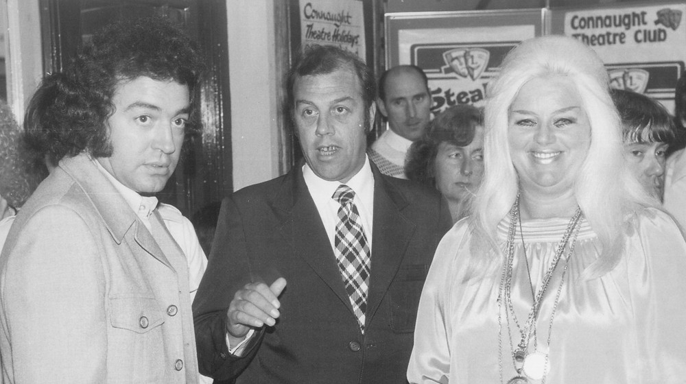 Diana Dors and her husband Alan Lake at the Connaught Theatre, Worthing