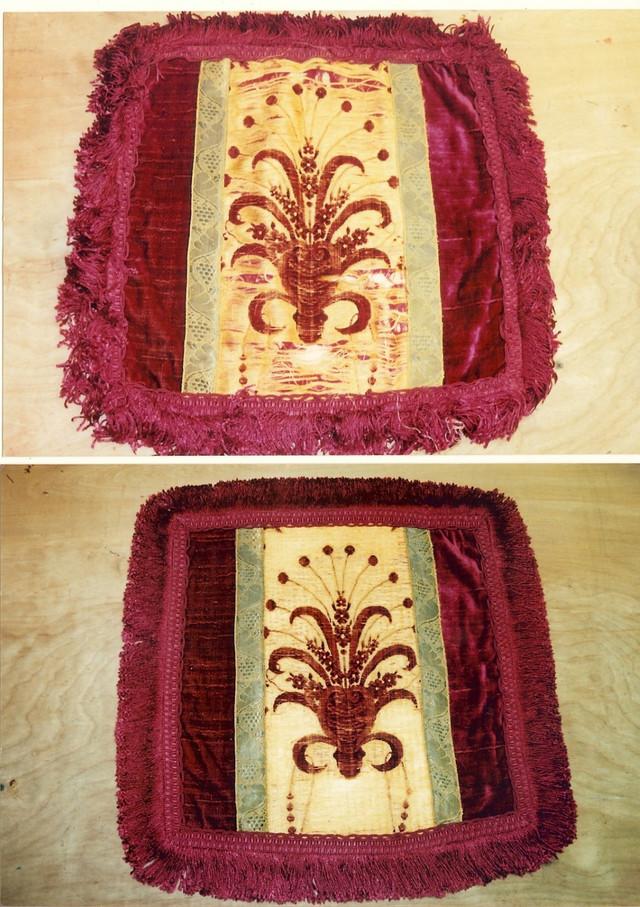 Pillowcase. Antique Italian velvet centr panel.