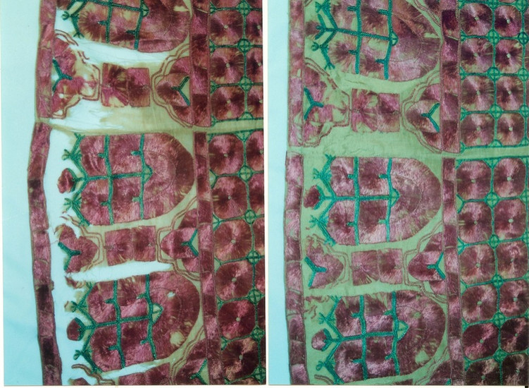 Indian Embroidery Before (left) After (right)