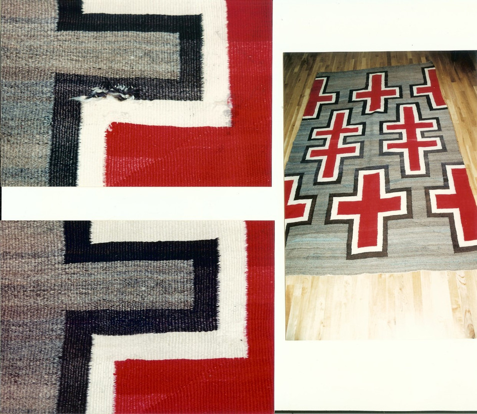1. Navajo Rug Area 1 Before (above) After (below), Full View (left)