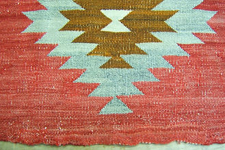 NAVAJO RUG, salavege end reweaving,after