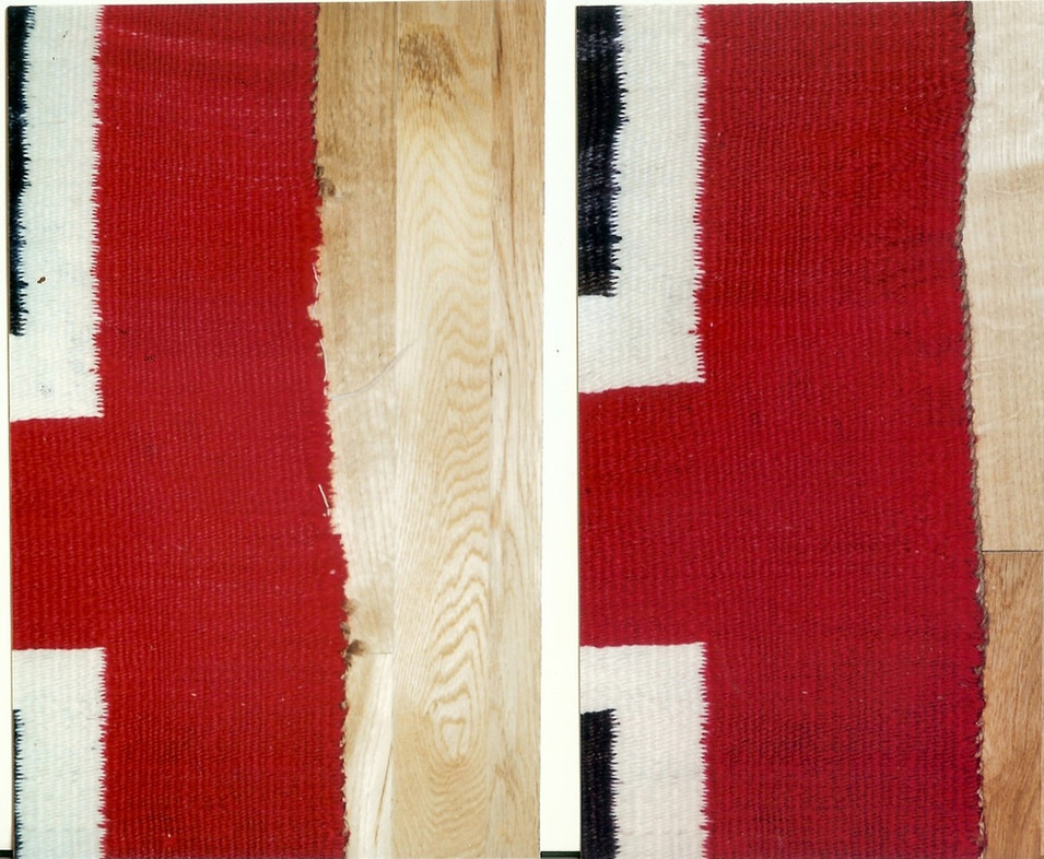 1. Navajo Rug Area 2  Before (left) After (right)