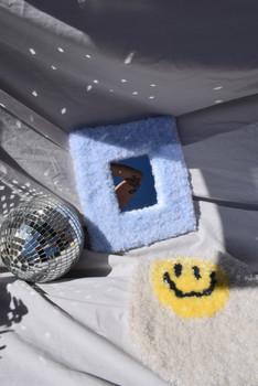 POWDER BLUE MIRROR // HAPPY EGG WALL HANGING