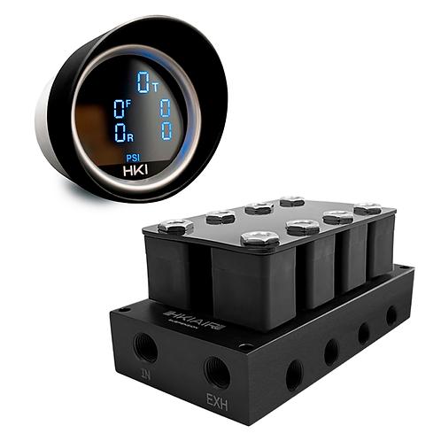 5in1Digital Air Pressure Gauge + 4 Corner Valve Manifold