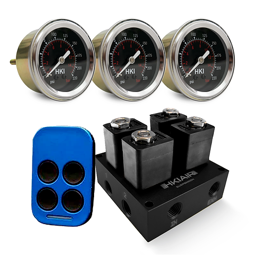 2 Corner Valve Manifold + RF-4 + 3x Single Needle Air Pressure Gauge