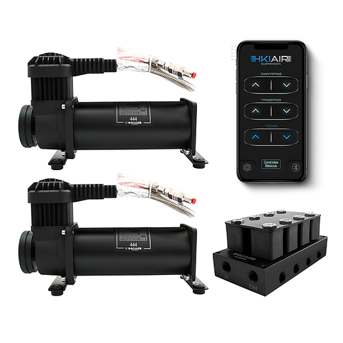 2x Premium HKI AIR 444 Air Compressor + 4 Corner Valve Manifold + BT8T
