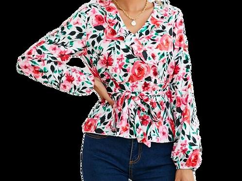 Belted Floral Sleeved Blouse