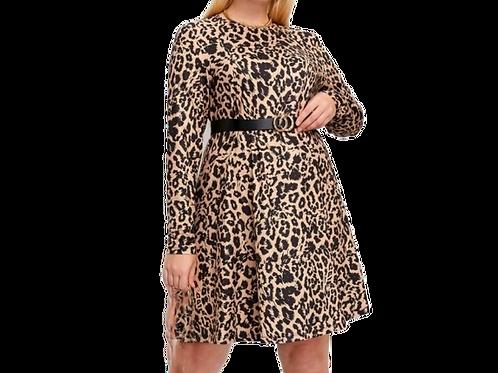 Leopard Print Sleeve Dress (Belt not included)