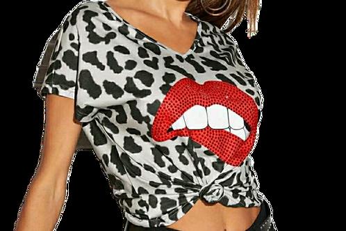 Red Lips Rhinestone Tee