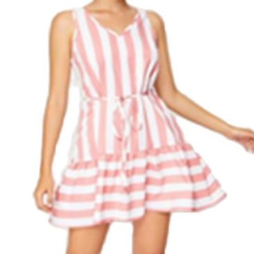 V-Neck Striped 2 Tone Dress