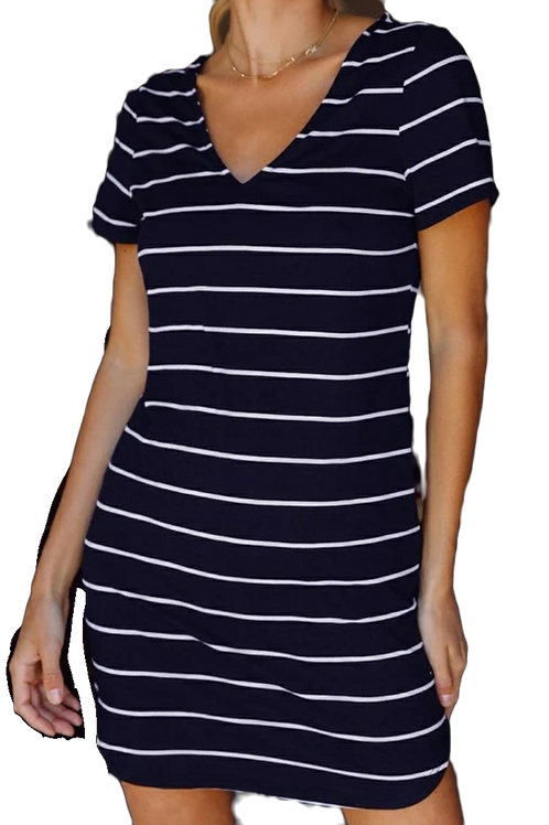 V-Neck Navy Striped Tee Dress