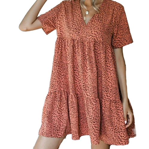 Coral Over All Canoy Dress