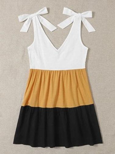 Tie Shoulder 3 Color Dress