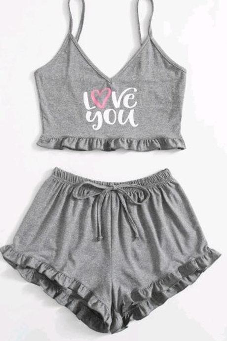 Love Graphic Cami & Short Set