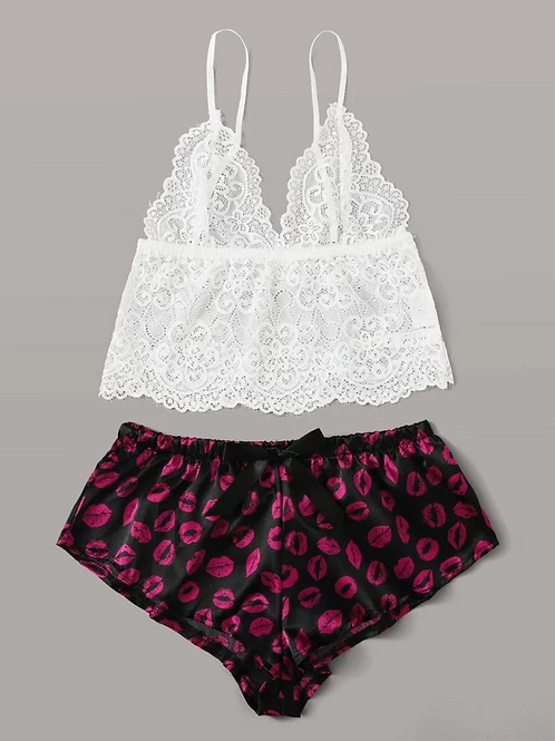 Bralette & Satin Lips Shorts Set