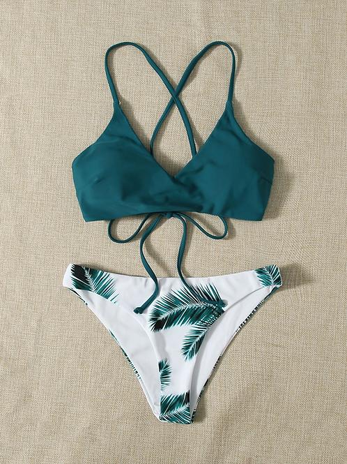 Palm Halter Bikini Swimsuit