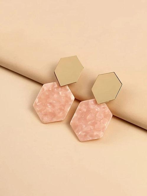 Pink Hex Earring Set