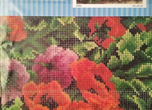 Τυπωτός Καμβάς Κεντήματος Λουλούδια