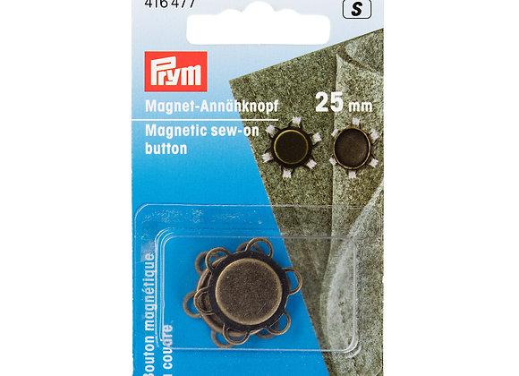 Μαγνητικά Κουμπιά Ραβόμενα Prym 25mm Μπρονζέ