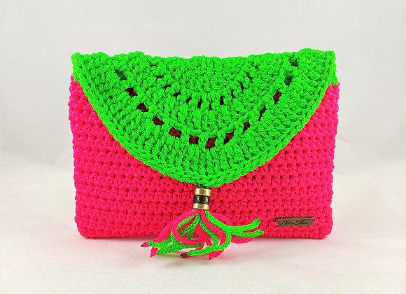 Τσάντα Χειρός Boho Πράσινο/Ρόζ