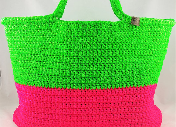 Τσάντα παραλίας Β.Ν.  Πράσινο/Ρόζ