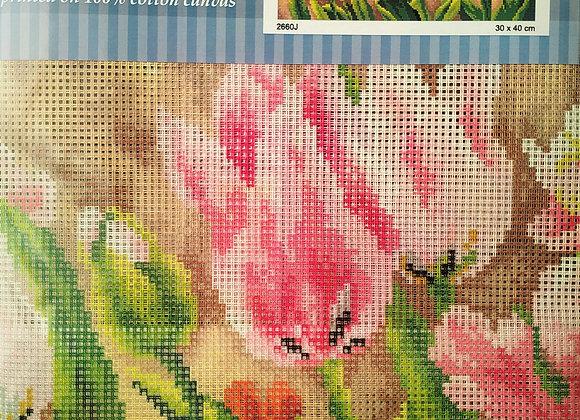 Τυπωτός Καμβάς Κεντήματος Λουλούδια 3