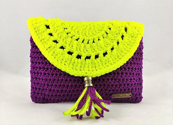 Τσάντα Χειρός Boho Κίτρινο/Μώβ