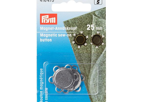 Μαγνητικά Κουμπιά Ραβόμενα Prym 25mm Ασημί