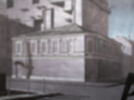 красный дом, колистраов, искусство в интерье, графика, рисунок, купить, архитектурный рисунок