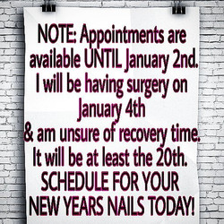 APPOINTMENTS CURRENTLY ONLY AVAILABLE UNTIL JANUARY 2ND!!!SCHEDULE YOUR APPOINTMENT TODAY!
