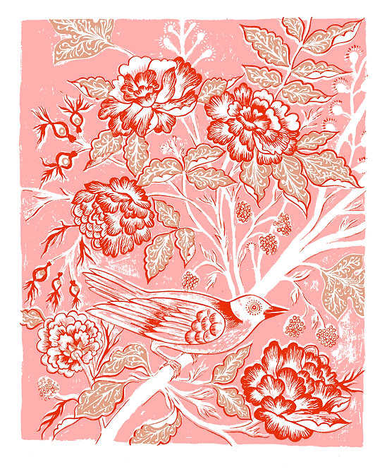 Rambler Giclée Print in Pink & Red