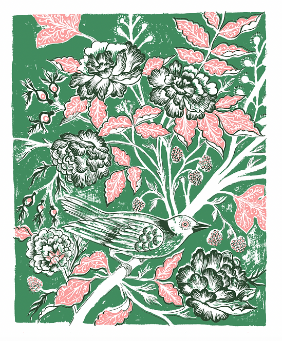 Rambler Giclée Print in Green & Pink