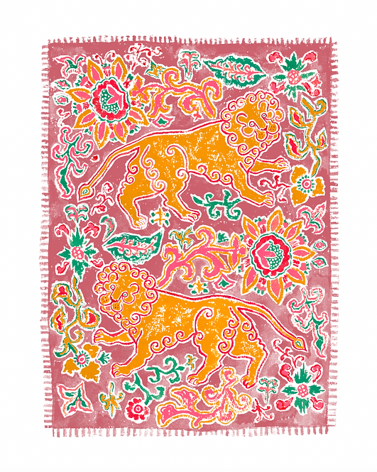 Lovely Lions Giclée Print in Pink