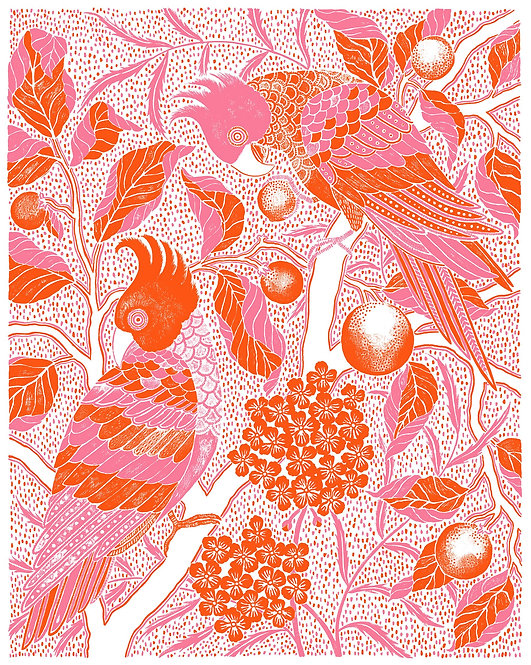 Mad Parrots Giclée Print in Pink & Red